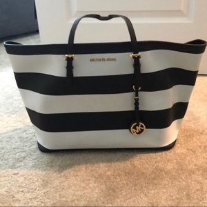 Michael Kors - black and white striped bag